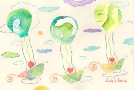 I cuori dei bambibni viaggiano in mongolfiera