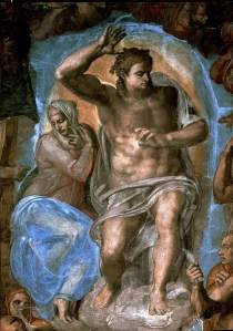 Michelangelo, Giudizio Universale - particolare del Cristo con la Vergine