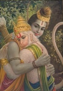 Shri Rama abbraccia Shri Hanuman