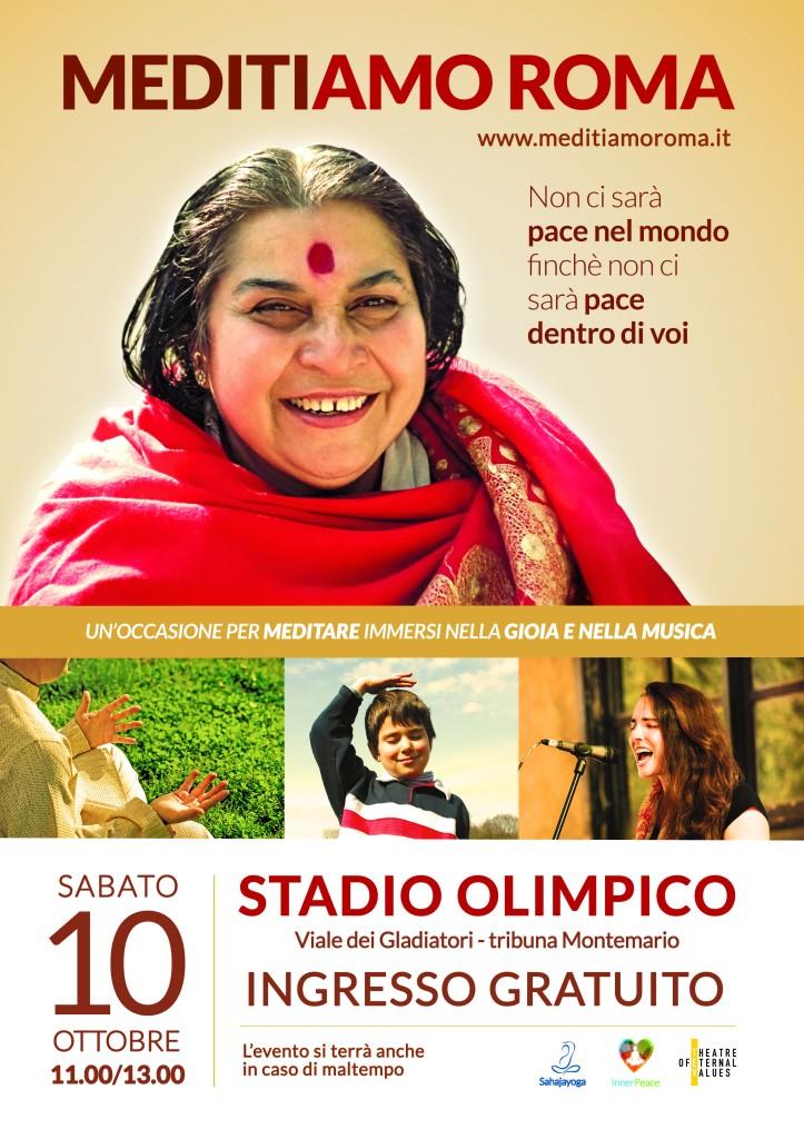 Roma diventa capitale dello yoga e ospita, nello stadio più celebre d'Italia, un evento unico: MediTiamo Roma, manifestazione gratuita e aperta a tutti che darà l'occasione a chiunque lo vorrà di provare la tecnica della meditazione.  Sabato 10 ottobre 2015 la Tribuna Monte Mario dello Stadio Olimpico di Roma si riempirà di musica e artisti provenienti da tutto il mondo con un unico scopo: raggiungere uno stato di pace e unione.   La manifestazione, gratuita e aperta a tutti, permetterà di sperimentare alcune semplici tecniche di meditazione Sahaja Yoga per sciogliere tensioni e blocchi interiori e raggiungere uno stato di benessere a livello fisico, mentale ed emozionale. Una meditazione molto semplice che non richiede posizioni e abbigliamento particolari: nella cultura sahaj, la meditazione è una risorsa interiore infinita che, insegnandoci a cambiare noi stessi, può essere la via spontanea per cambiare la società.   L'appuntamento è sabato 10 ottobre dalle 11:00 alle 13:00. L'evento si svolgerà anche in caso di maltempo. Lo Stadio Olimpico si trova in viale dei gladiatori a Roma.  L'evento, organizzato con l'obiettivo di diffondere i valori universali attraverso la tecnica di meditazione Sahaja Yoga, fondata da Shri Mataji Nirmala Devi, è promosso da Sahaja Yoga Italia, Inner Peace Day e Theatre of Eternal Values.    Per informazioni: http://www.meditiamoroma.it info@meditiamoroma.it info@sahajayoga.it